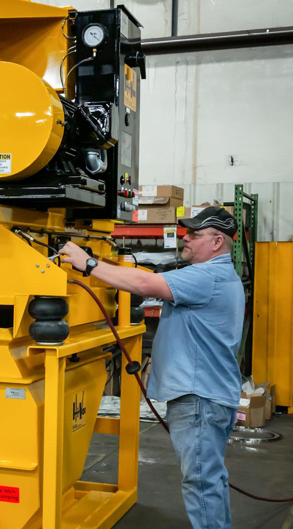 Employee on production floor at Hi-Vac Corp Marietta, OH